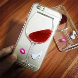 Kreative High-Heel-Wein-Glas-rote flüssige Lippenstift IPhone 5 / 5S / 6 / 6S Fälle