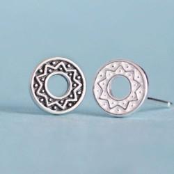 Volkston Sonnen Totem Runde Silber 925 Paar Ohrringe