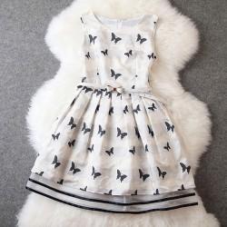 Luxus Stickerei Schmetterling Chiffon-Kleid