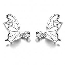 Süße ausgehöhlten Schmetterlingsflügel Mini Crystal Anhänger Silber Mädchen Ohrstecker