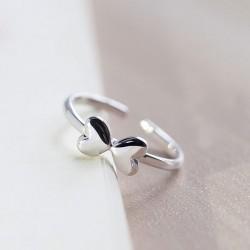 Süßes reizendes Sterlingsilber Zwei Herz-Bogen polnischen Öffnungs-Ring