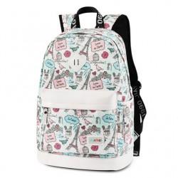 Süße Karikatur Eiffelturm Schule Rucksack Niedlich Segeltuch Reisetasche Schulrucksack
