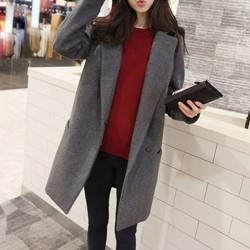 Mode Zweireiher Revers langen Wollmantel