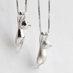 Frech Sterling Silber Kitten Swinging Anhänger Cute Animals Halskette