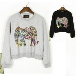 Neuer Stil Der Klassik Elefant Rundhals Pullover