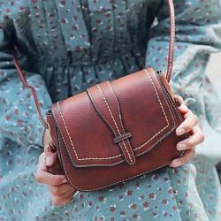 Retro Braun Einfach Mini Platz Dame Bote Tasche Schultertaschen