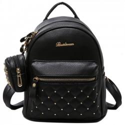 Mode PU Mädchen schwarz weiß kleine Tasche Snap Nieten Mesh Lingge Mini Rucksack