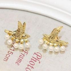 Fashion-Vogel Perle hängende Bolzen-Ohrringe