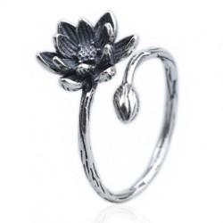 Retro-Mädchen Vivid Stereo Lotusblume Alte Weise Silber Öffnen Ring