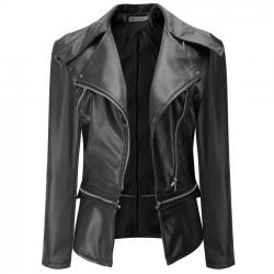 Mode PU Leder Reißverschluss Jacke Herbst Mantel PU Kleider Motorrad Lederjacke