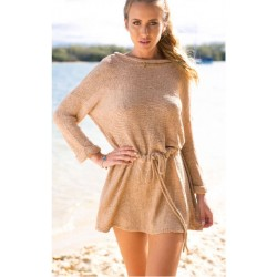 Beitritt runden Kragen Taille Streifen schlanke Frauen Langarm Kleid