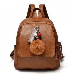 Leisure British Style Brown Soft PU Large Lady Bag Student Backpack