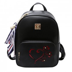 Fashion Heart Hollow Rose Black PU College Bag School Backpack
