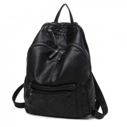 Mode schwarz weiches Leder Damen einfach groß Hochschule Rucksack