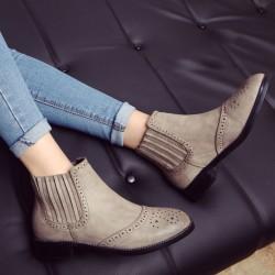 British Style Jahrgang Solide Elastic Kurz Mit niedrigen Absätzen Brogue Stiefel