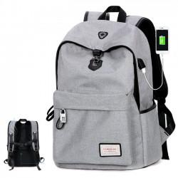 Hohe Qualität Leinwand Grau Große Kapazität Camping Tasche USB Schnittstelle Schule Rucksäcke