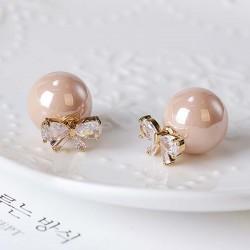 Elegante Diamant-eingefasste Bogen Zirkon Perle Runde Dual-Zweck Frauen Ohrstecker