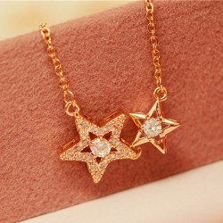 Romantische Doppelstern Flash Diamond Anhänger Schlüsselbein Halskette