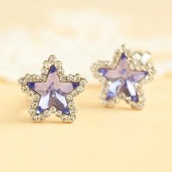 Lila Star Kristall Ohrclip / Ohrstecker