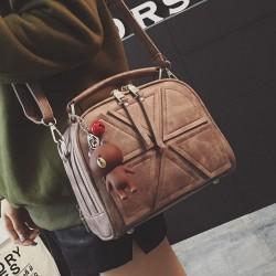 Art und Weise doppelte Reißverschlüsse Handtasche Retro Linien Getrennt Geometrisches Muster PU Umhängetasche