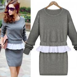Falsch Zwei Stück Falbala Strick Pullover Kleid