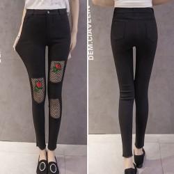 Mode Rose Stickerei Schwarz Netz Zerrissen Dehnbar Damen Dünn Neunte Jean Legging