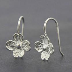 Einzigartige handgefertigte Silber Blumen Haken Damen Haken Ohrstecker