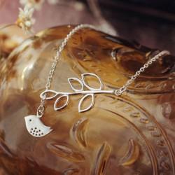 Vogel-Blätter zusammen Hohl Anhänger Elegante Sterlingsilber-Halskette