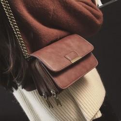 Mode PU Doppeldeck Zippered Handtasche Retro Mehrere Ebenen Kette Schultertaschen
