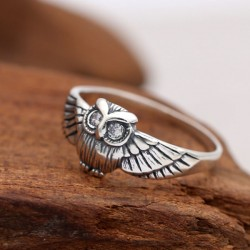 Retro einzigartige Thai Silber Eule Tier Zirkon Frau Ring