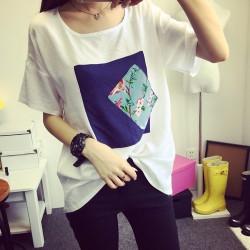 Frisch Freizeit Blumen Vogel Muster Patch Lose Spleißen Sleeves Rundhals-T-Shirt