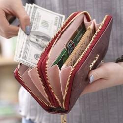Süßes Mädchen PU-Rose prägte Telefon-Geldbörse doppelt-eingewickelte Ziplock-Geldbörse Unterarmtasche