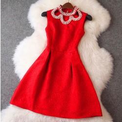 Perlen Blumen-Kragen-Blumen-Druck A-Linie Kleid