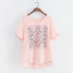 Kausale Frische Solide Geometrisches Muster Loses Kurzhülse T-Shirt Leinen