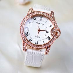 Römischen Stil Diamanten Besetzte Kursteilnehmer Leder Uhr