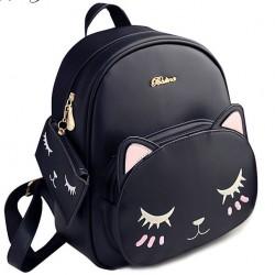 Mode PU niedlich Katzen-Druck Freizeit Kitty Karikatur Kätzchen Schule Rucksäcke