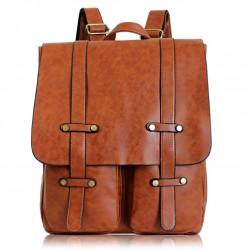 Retro Doppelt Tasche Rucksack solide Farbe Hochschule Tasche