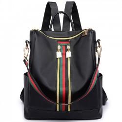 Einzigartige Multifunktions Handtasche Schultertasche Grün Rot Streifen Doppel-Reißverschluss Mädchen PU Schulrucksack