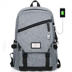 Freizeit grau große wasserdichte Leinwand Schultasche Reise USB Schnittstelle Schüler Rucksack
