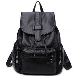 Freizeit Weiche schwarze Leder Frauen Reisetasche Einfache College Rucksack