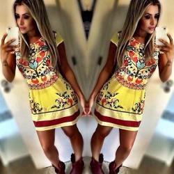 Retro Blumen-Art- und Weisedrucken-Kleid