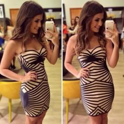 Mode-Streifen Brustbereich eingewickelte-Frauen-KleidPartei Kleid