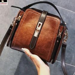 Elegante Doppelreißverschlüsse Einzelne Schnalle Frauen Handtasche Schultertasche