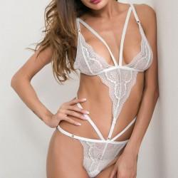 Sexy Love Heart Lace Mesh-Perspektive Schwarz Weiß Verbundene Unterwäsche Intime Dessous
