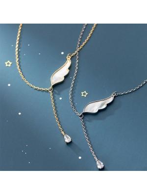 Nette einzelne Flügel-Kristallfeder-Quasten-Anhänger-Halskette für Frauen-Silber-Schmuck-Halskette