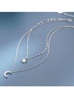 Einzigartige Achtzacke Star Mond Doppelschicht Kristall Frauen Silber Halskette