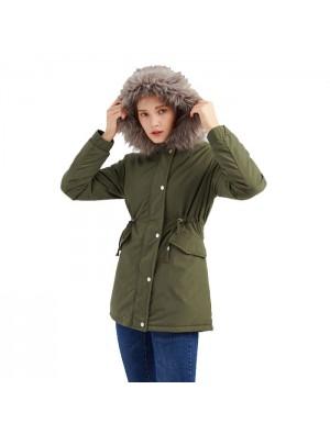 Mode Pelzkragen Verdicken Baumwolle Mittellange Kapuze Winter Warm Plus Samtmantel Damenmantel