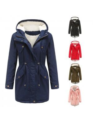 Mode Einfarbig Kapuzen-Kordelzug Zurückziehen Verdickte Baumwolle Übergröße Samt Baumwolle Frauen Herbst Wintermantel