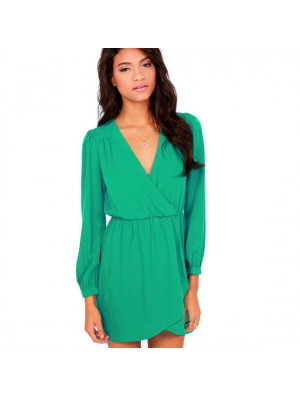 Lässige V-Ausschnitt Langarm Chiffon-Kleid