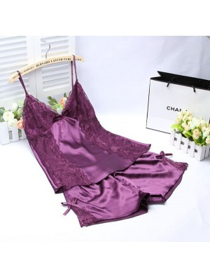 Sommer Sexy Seide Zuhause Bequem Zwei Stück Pyjama
